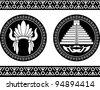 mayan pyramid and headdress. vector illustration - stock vector