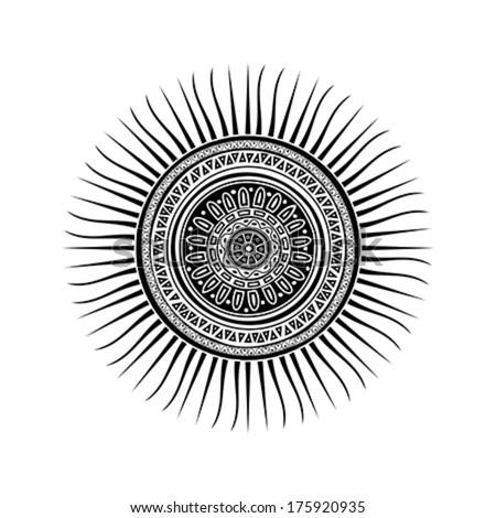 mayan sun symbol tattoo design over stock vector 175920935 shutterstock. Black Bedroom Furniture Sets. Home Design Ideas