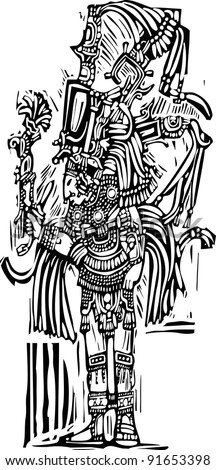 Mayan warrior designed after Pottery and Temple Images - stock vector