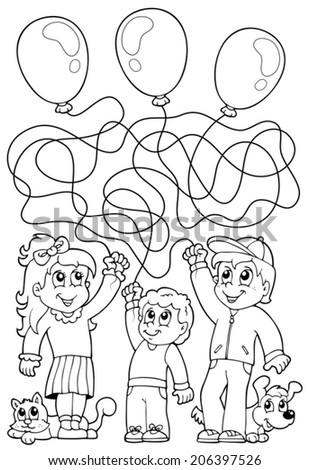 Maze 8 coloring book with children - eps10 vector illustration. - stock vector