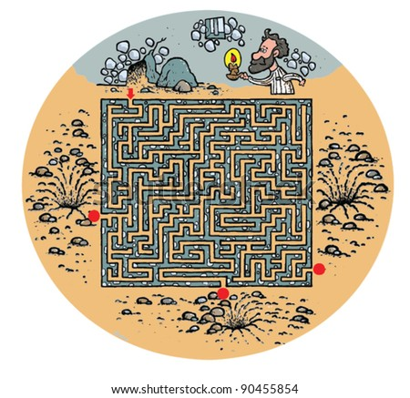 Maze for children - escape from tower illustration - stock vector