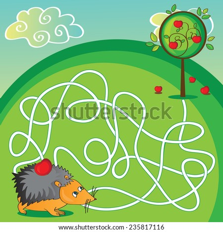 Maze for kids - Puzzle - help the hedgehog to get to the apple - stock vector