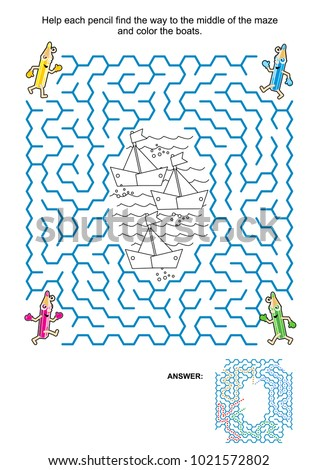 Maze Game Coloring Page Kids Help Stock Vector HD (Royalty Free ...