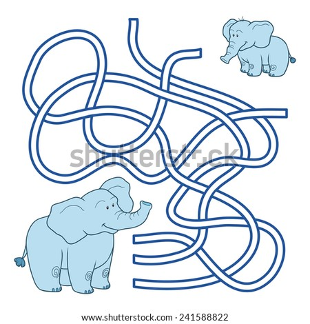 Maze game (family of elephants) - stock vector
