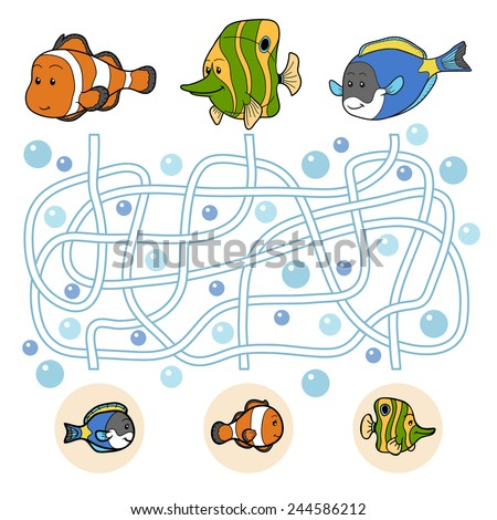 Maze game: fish family - stock vector