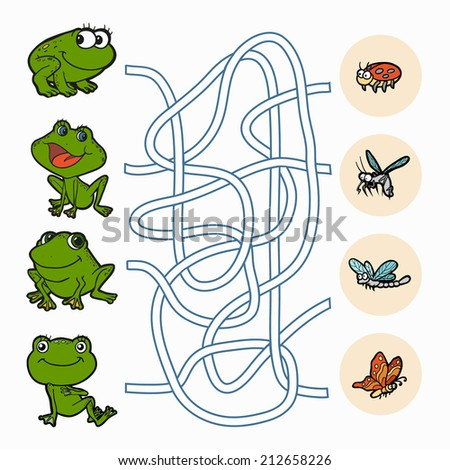 Maze game: Help frogs to find food - stock vector