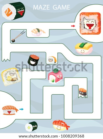 Maze Game Kids Printable Game Vector Stock Vector 1008209368 ...