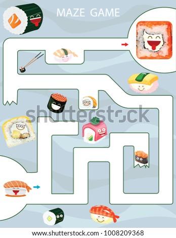 Maze Game Kids Printable Game Vector Stock Vector 1008209368 ...
