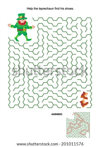 Maze game or activity page: Help the leprechaun find his shoes. Answer included.  - stock vector
