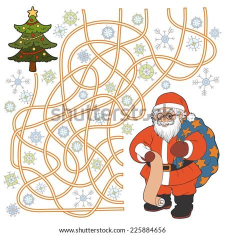 Maze game (Santa Claus and christmas tree) - stock vector
