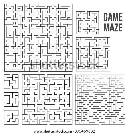 Maze Game Set. Labyrinth Game with Entry and Exit. Find the Way Out Concept. Transportation. Logistics Abstract Background Concept. Business Path Concept. Vector Illustration. - stock vector