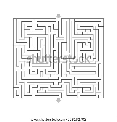 maze hard design puzzle with specify input and output White - stock vector