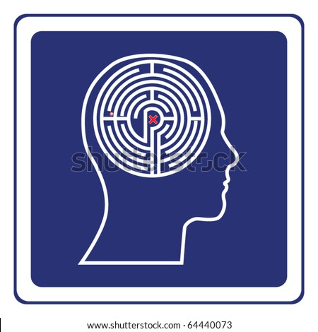 Maze head sign vector - stock vector