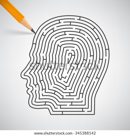 Maze in the shape of a human head in pencil. Vector Illustration - stock vector
