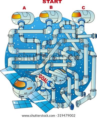 Maze of satellite - stock vector
