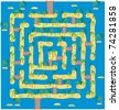 Maze or labyrinth as tropical islands in blue sea - stock photo