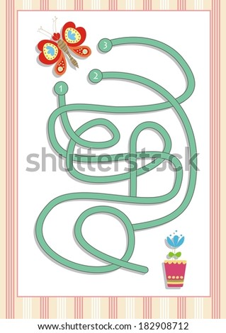 Maze or Labyrinth Game for Preschool Children  (2) - stock vector