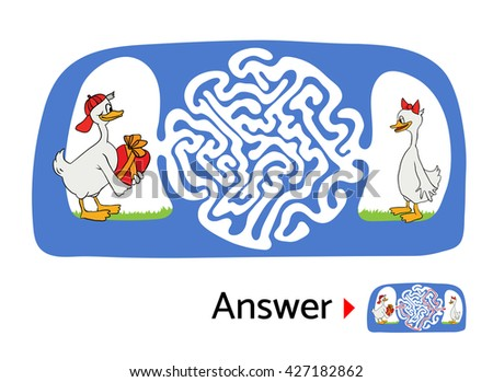 Maze puzzle for kids, labyrinth illustration with solution. - stock vector