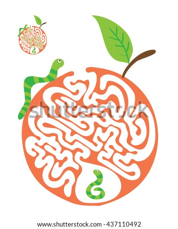 Maze puzzle for kids with caterpillars and apple. Labyrinth illustration, solution included. - stock vector