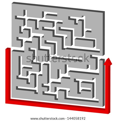 Maze Puzzle Solution - stock vector