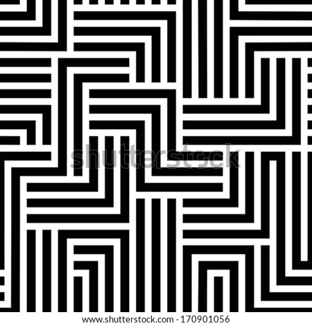 Maze seamless pattern, black and white simple vector background.