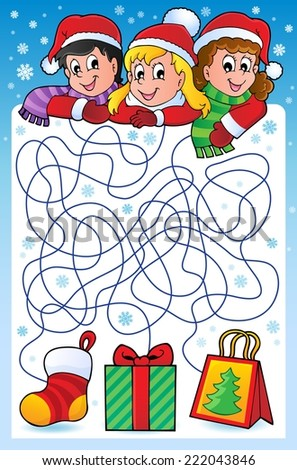 Maze 10 with Christmas theme - eps10 vector illustration. - stock vector
