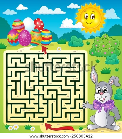 Maze 3 with Easter theme - eps10 vector illustration. - stock vector