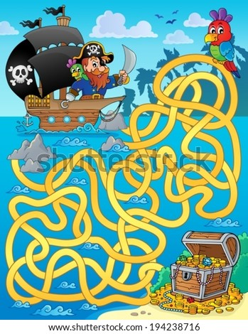 Maze 1 with pirate and treasure - eps10 vector illustration. - stock vector
