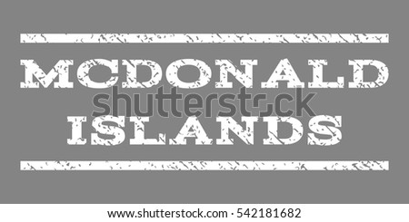 Mcdonald Islands watermark stamp. Text tag between horizontal parallel lines with grunge design style. Rubber seal stamp with dirty texture. Vector white color ink imprint on a gray background.