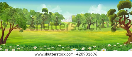 Meadow and forest nature landscape, vector background - stock vector