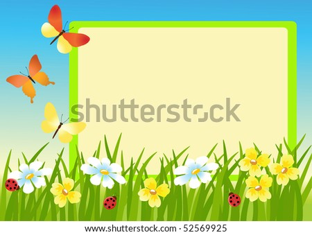Meadow and message board.  Vector illustration. - stock vector