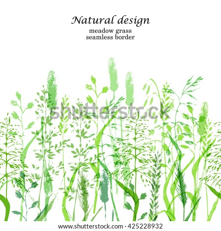 Meadow grass background in green color. Green grass silhouettes on white seamless border.