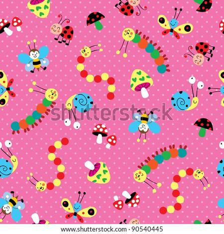 Meadow kids pattern - stock vector