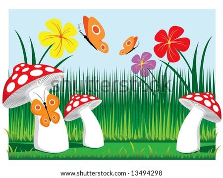 meadow mushrooms with butterflies and flowers