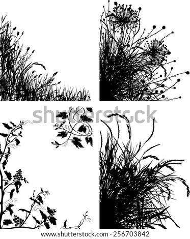 Meadow plants silhouettes - stock vector