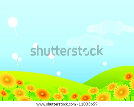 Meadow with yellow dandelions