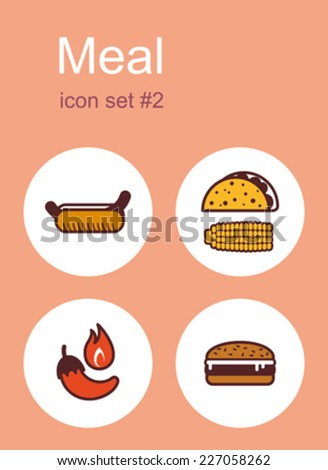 Meal menu food and drink icons. Set of editable vector color illustrations. - stock vector