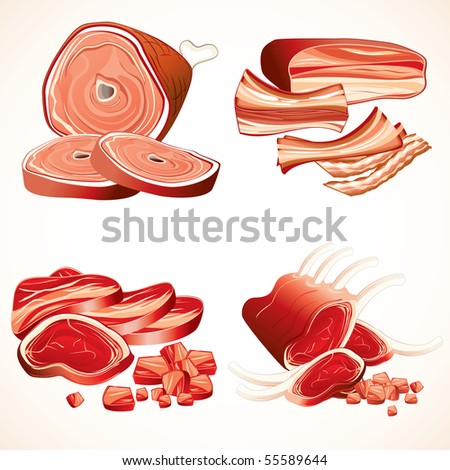 Meal Set #3 - Meat vector clip art - Ham, Gammon, Bacon, Raw Ribs, Steaks ( elements separated and grouped ) - stock vector