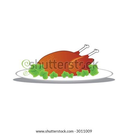 meal, vector, food, chicken, turkey, illustration, dinner, meat, celebration - stock vector