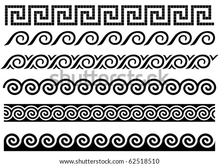 Meander and wave. Ancient Greek borders. Set of ornaments. - stock vector