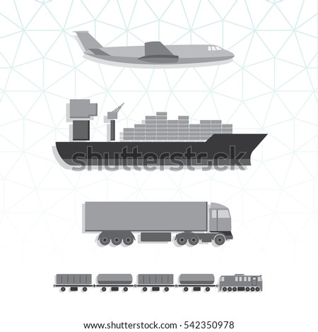 means transportation vehicle ship plane train stock vector 542350978 shutterstock. Black Bedroom Furniture Sets. Home Design Ideas