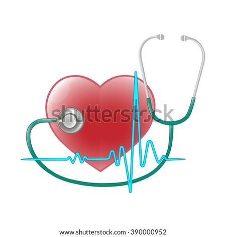 measurement of blood pressure for heart disease - stock vector
