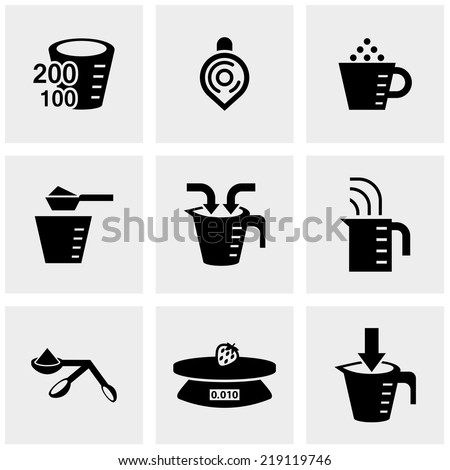 measuring cup vector icons set on gray - stock vector