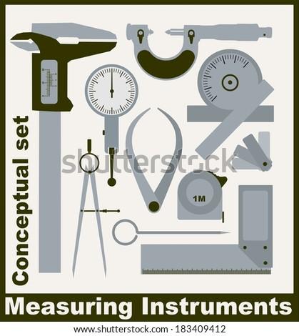 Measuring instruments,  conceptual vector set - stock vector