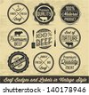 Meat and Beef Badges and Labels in Vintage Style - stock photo