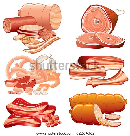 Meat and Sausages icon set 8 - detailed vector illustration, all elements grouped