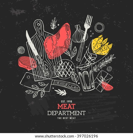 Meat composition. Meat restaurant design chalkboard template. Vector illustration - stock vector