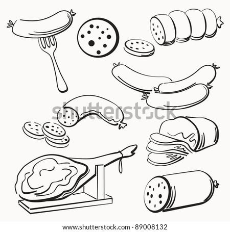 Meat elements set - stock vector
