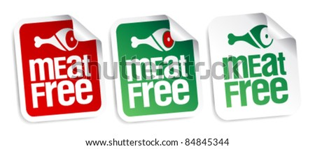 Meat free stickers set. - stock vector