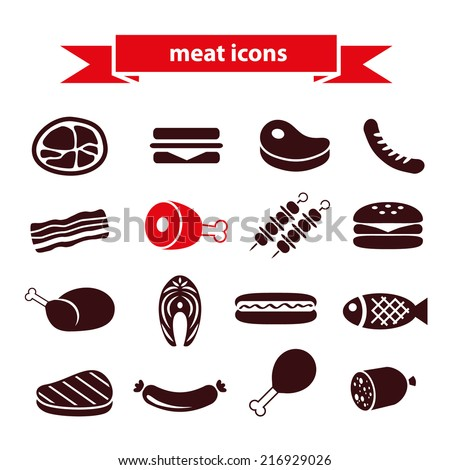 meat icons - stock vector